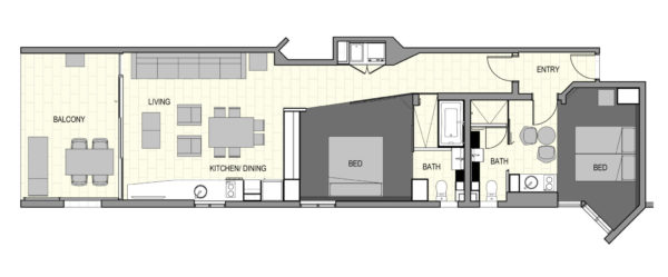 Two Bed Deluxe Floorplan
