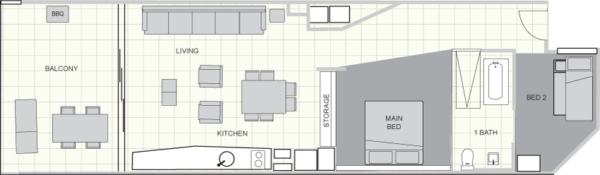 Two Bed Standard Floorplan