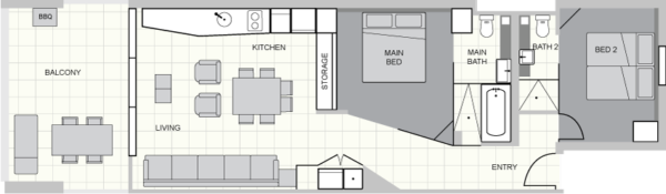 Two Bed Standard Floorplan Alt